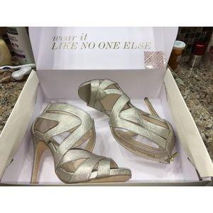 Boston Proper shoes gold caged sandals heels 7.5